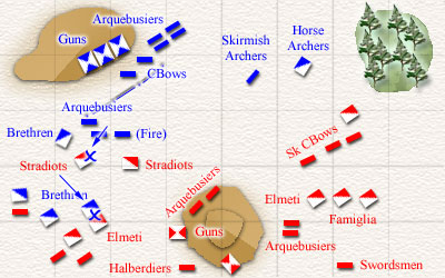 Aftermath of the melee. The Arquebusiers have arrived just in time