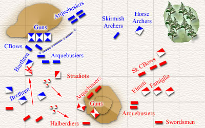 The Italian Horse Archers charge the Brethren in the flank