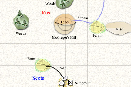 The terrain around McGregor's Hill